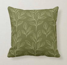 Fall Pillow, Earth Tone, Green, Botanical Leaves, Nature Inspired Pillows, Minimalist Style, Contemporary Pillow