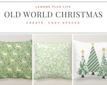Christmas Damask Pillow, Mint Green and White Throw Pillow