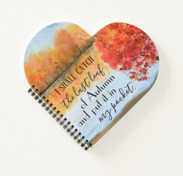 Autumn Spiral Bound Notebook, Heart Shaped, Quote