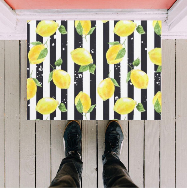 Lemon Door Mat, Yellow Lemon and Stripe, Black and White Stripe, Indoor Outdoor Rug, Citrus Home Decor, Lemon Decor, Front Porch