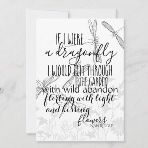 Dragonfly Flat Card Set, If I Were a Dragonfly, Quote, Whimsical, Blank Card with Envelope, 5 X 7, Ready to Frame, Set of 3