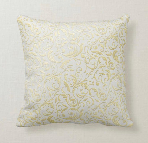 Throw Pillow, Gold and White Damask, Pillow and Insert