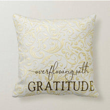 "Throw Pillow ""Overflowing With Gratitude"" Gold and White Damask, Pillow and Insert"