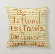 "Halloween Pillow ""Sit a Spell"" Black and White, Thanksgiving Pillow ""Take the Road Less Traveled"" Yellow Gingham, Two Pillows in One"