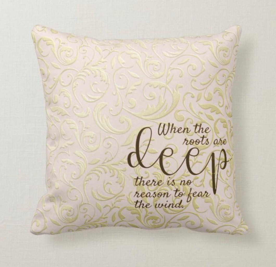 Throw Pillow, Gold and Blush Damask, Pillow and Insert, Words,