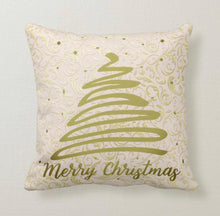 "Christmas Throw Pillow, Gold Damask, ""Merry Christmas"" Christmas Tree, Pillow and Insert, Christmas Decor, Two Pillows in One"