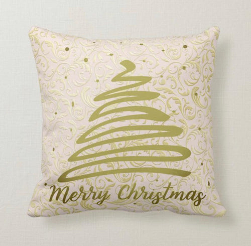 Christmas Throw Pillow, Gold Damask,