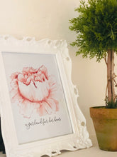 Floral Print, Watercolor,  Peach Flower, Garland for Her Hair, Poster, Print, Farmhouse Floral, Cottage Floral, Typography Print