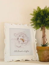 Watercolor Art Print, White Floral, Typography, Dressed in Ruffles, Poster