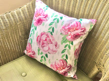 Watercolor, Vintage Design, Pink Peonies Throw Pillow, Cottage Floral Pillow, Pink, Green, White