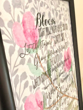 Bloom Anyway Quote Floral Pink and Grey Typography Print