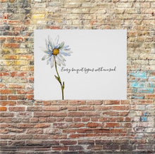 "Daisy Wall Art, Print, Watercolor, ""Every Bouquet Begins with One Seed"" Floral Poster"