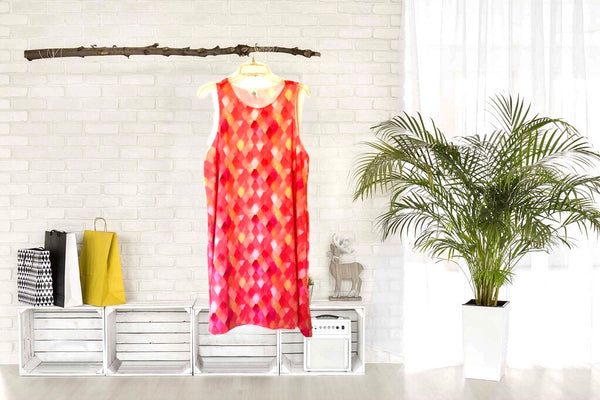 A-Line Dress Yellow, Peach, Orange,  Watercolor Dragon Scale Pattern, Women, Flatters All Figures, Flowy Style