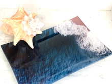Ocean Blue Oblong Glass Decorative Tray
