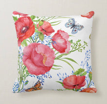 Watercolor Red Poppy, Butterfly, Floral Garden Throw Pillow