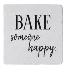 "Apron ""Bake Someone Happy"" Tan and White, Three Pockets, Kitchen Accessories"