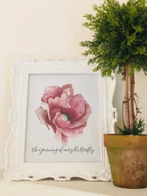 Art Print Floral Watercolor Burgundy Floral, Typography, Butterfly, Poster