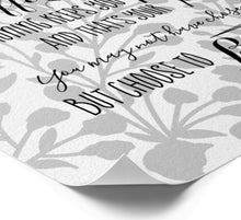 Bloom Anyway Quote Grey & White Typography Print