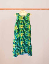 A-Line Dress, Green Watercolor, Dragon Scale Pattern, Sleeveless, Flattering on Any Figure
