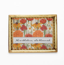 Floral Print, Wildflowers, Nevertheles She Bloomed, Orange & Yellow, Floral, Typography, Inspirational, Quote, Wall Art Poster