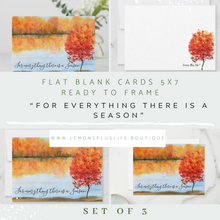 "Autumn Greeting Card, Flat, Set of 3, Quote ""For everything there is a season."" Watercolor Fall Landscape, Fall Greeting Card to Frame, 5 X 7, Blank"
