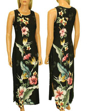 Long Maxi Hawaiian Dress Birds of Paradise Hibiscus Design, Small-Plus Sizes