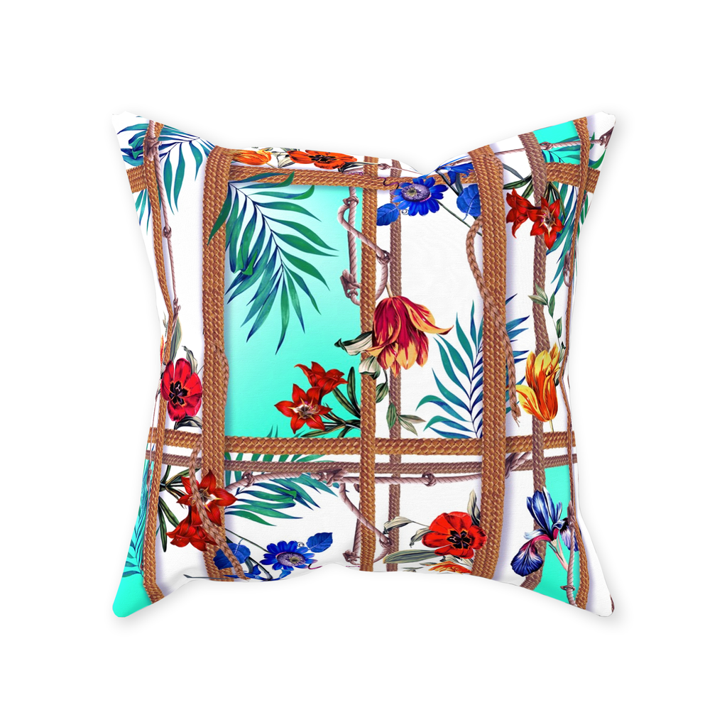 Exotic Floral, Throw Pillows, Tropical Rope Design