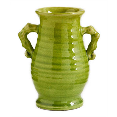 Green European Ceramic Jar w/2 Handles