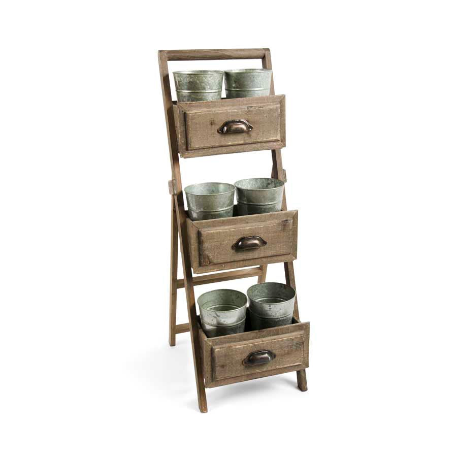 Single Wooden Planter Stand w/6 Buckets
