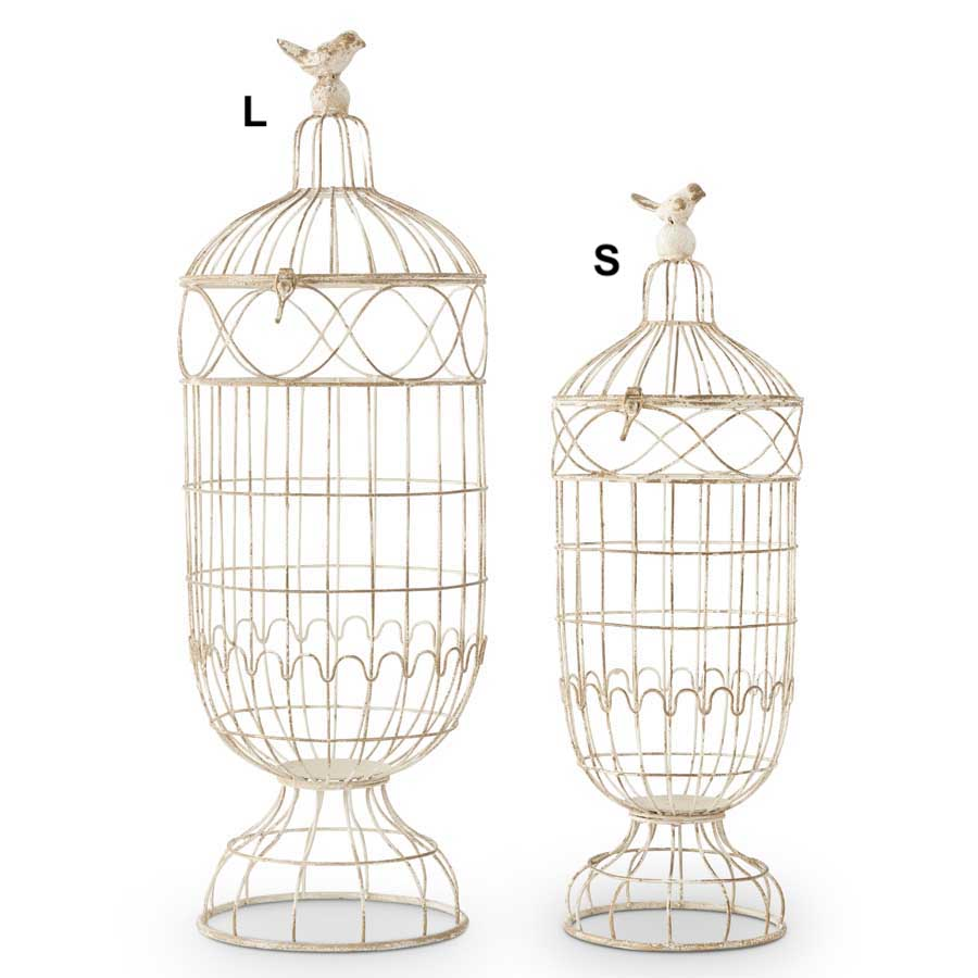 Wire Domes on Stands With Birds - 2 Sizes