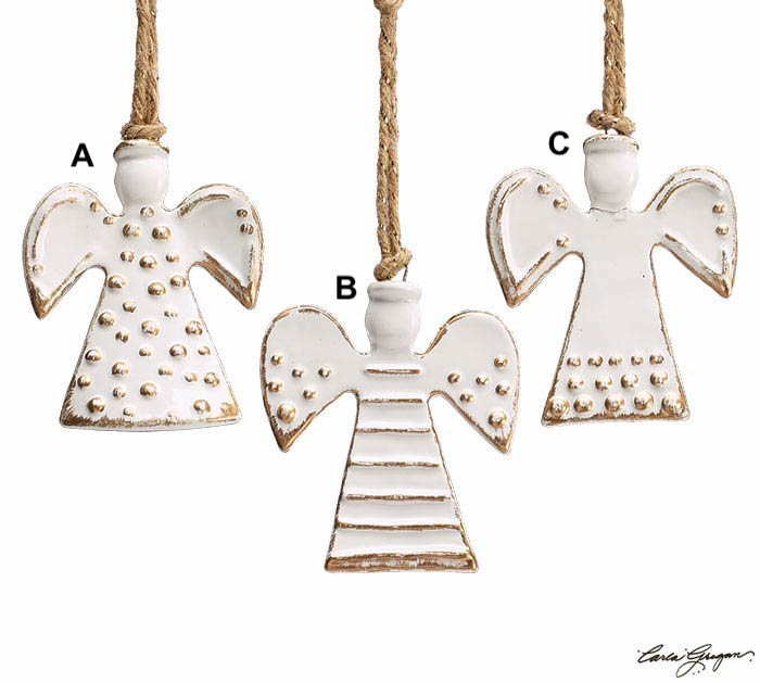 White Ceramic Angel Ornament - 3 Styles