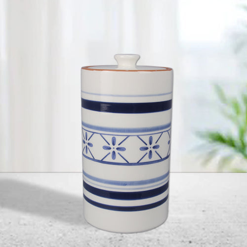 Ceramic Blue and White Cookie Jar