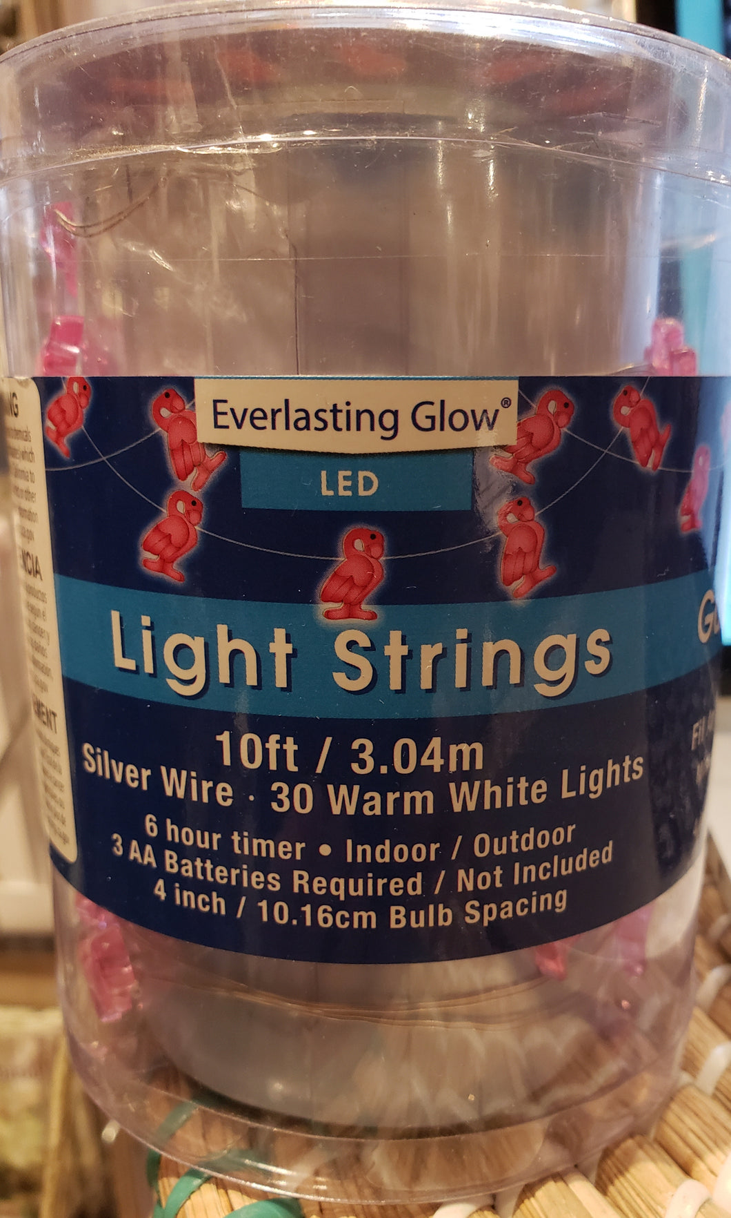 10ft Flamingo LED String Battery Operated - Silver Wire