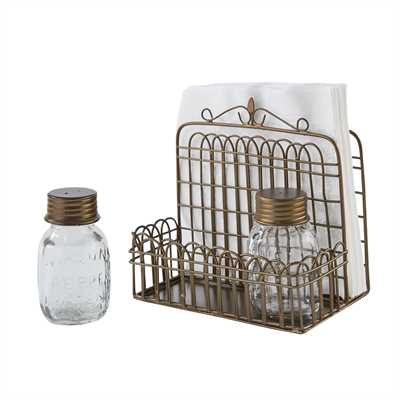 Garden Gate Napkin Salt & Pepper Caddy
