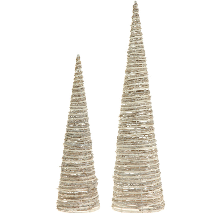 GLITTERED CONE TREES - SET OF 2
