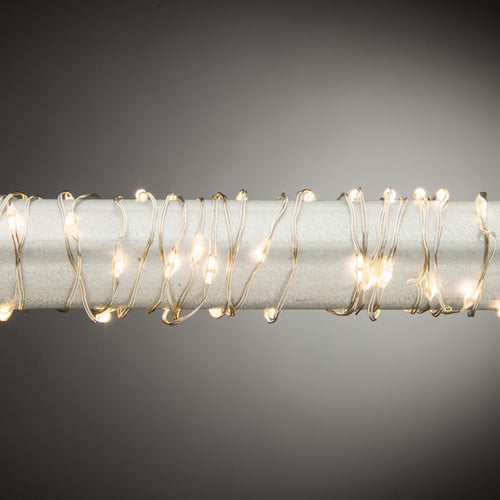 20ft Warm White LED String Battery Operated - Silver Wire
