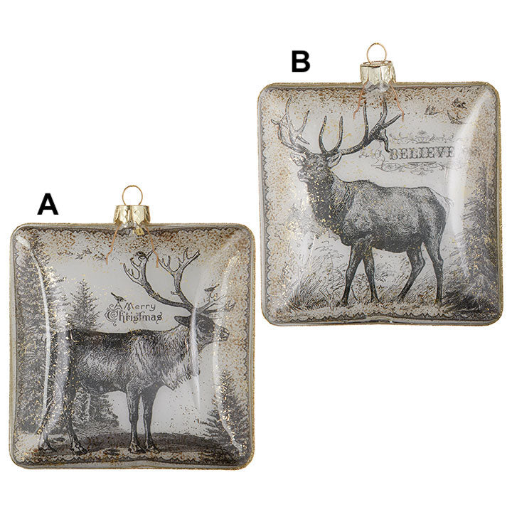 Glass Deer Ornament - 2 Styles