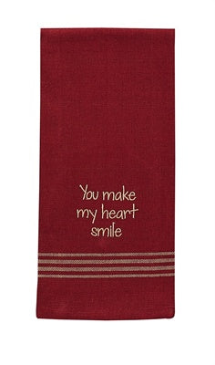 You Make My Heart Smile Embroidered Dishtowel