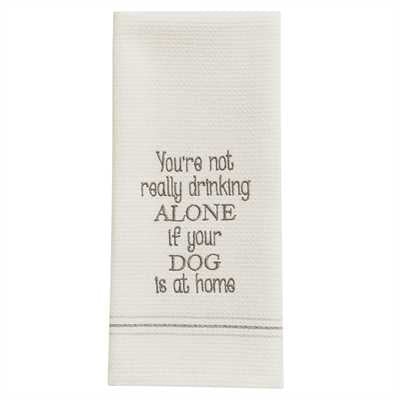 Dog At Home Embroidered Dishtowel