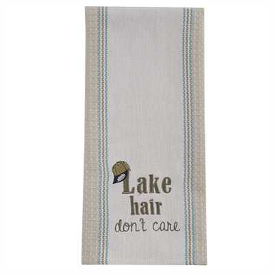 Lake Hair Embroidered Dishtowel