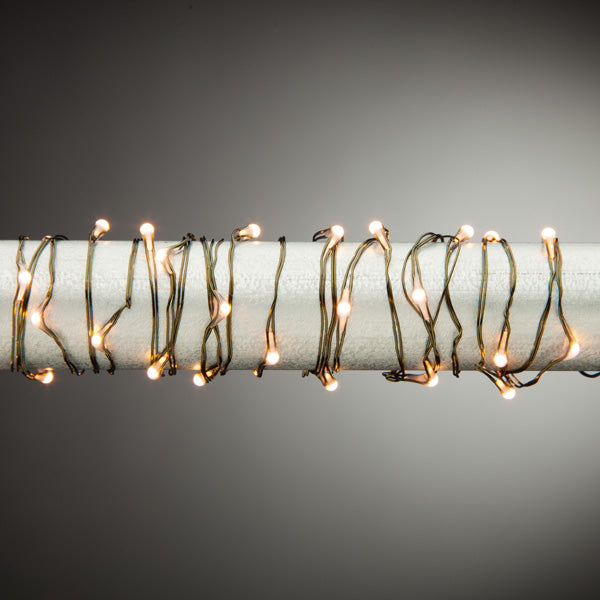 10ft Warm White LED String Battery Operated - Green Wire