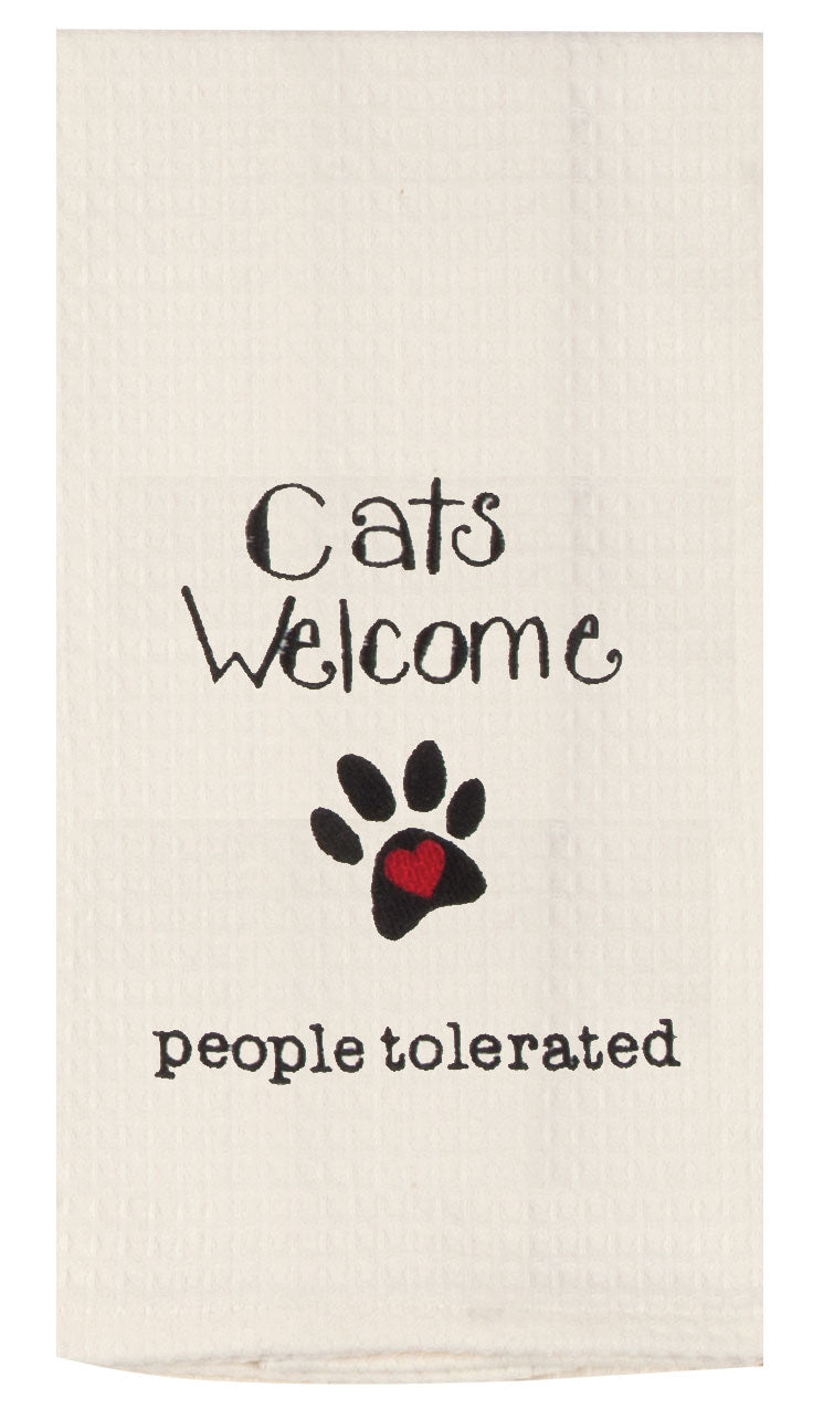 Cats Welcome Embroidered Waffle Towel