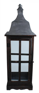 Brown Wood Lantern w. Grey Tin