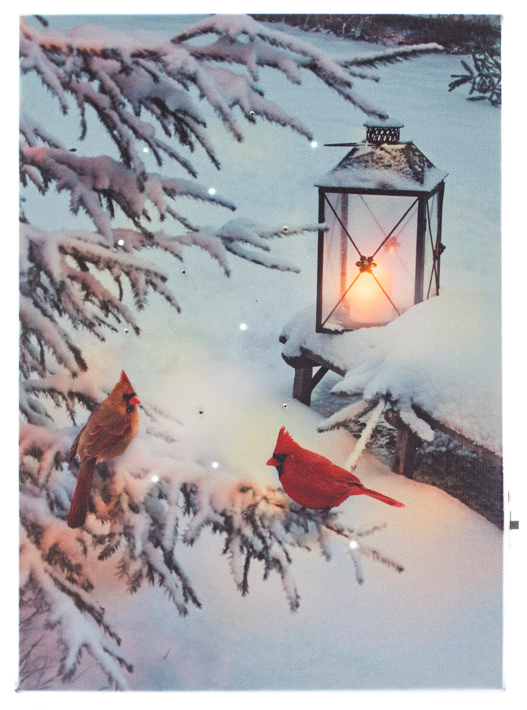 Two Cardinals w. Lantern Lighted Print