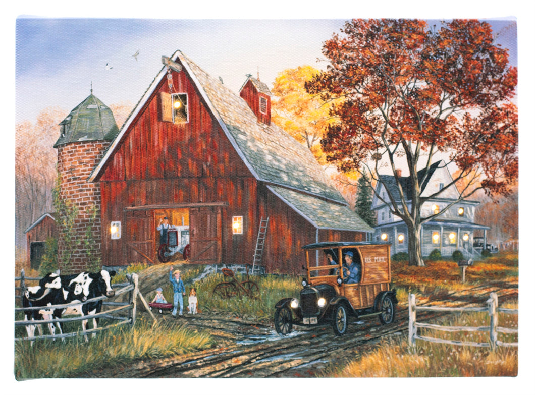 Red Barn w. Cows Lighted Print