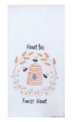 Bee Inspired Embroidered Flour Sack Towel