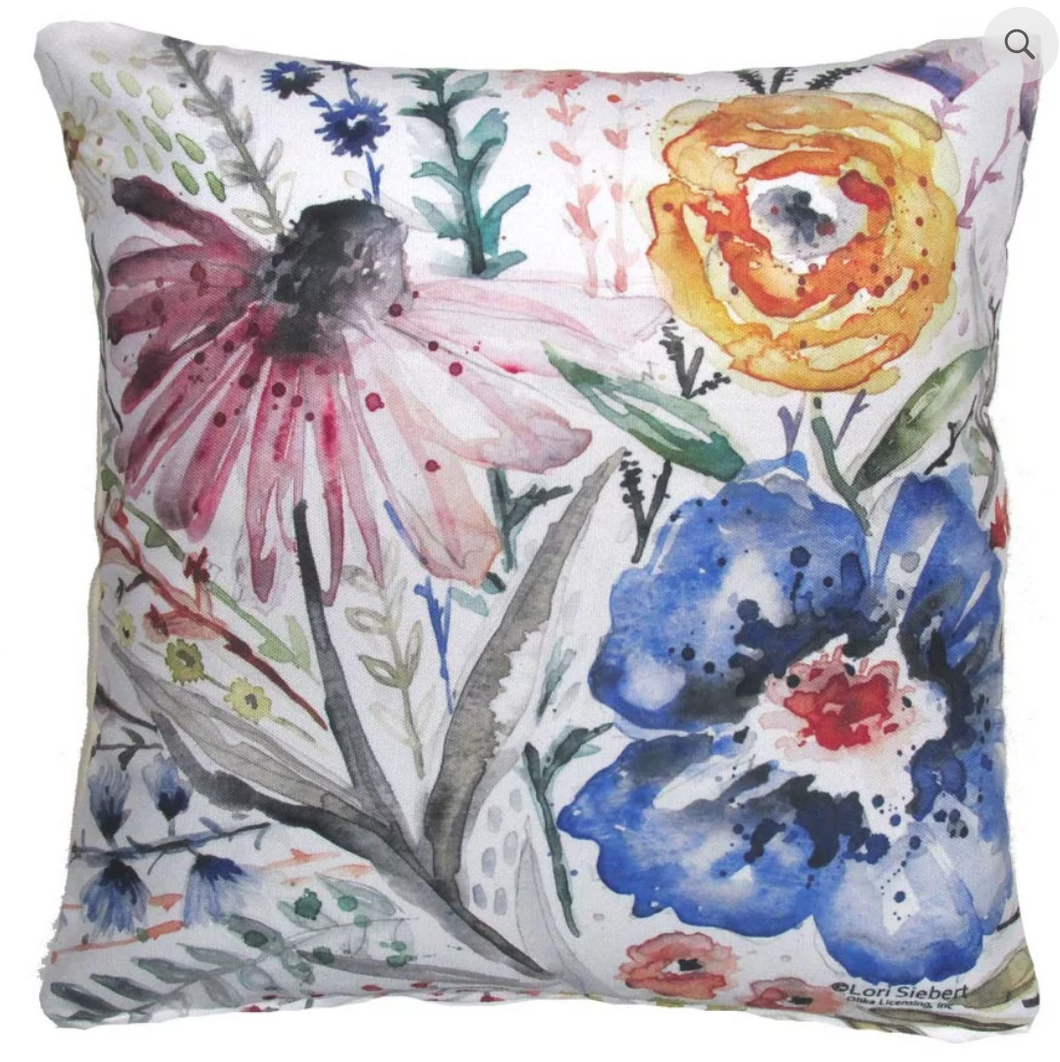 Watercolor Wildflower Pillow
