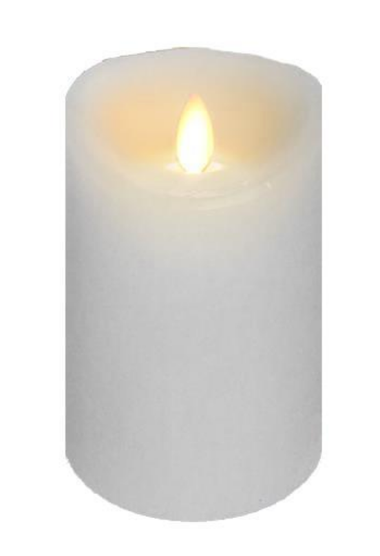 4x6 Wax Flickering White Candle - Battery Operated