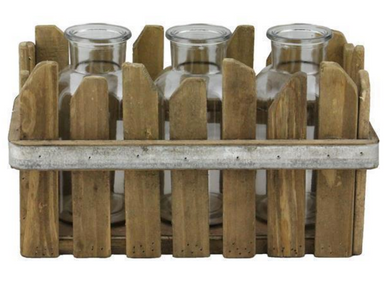 Wood Slat Tray w. 3 Glass Bottles