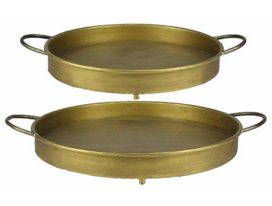 Round Antiqued Gold Gunmetal Tray - 2 Sizes
